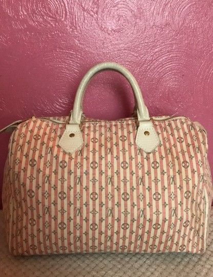 Louis Vuitton Satchel in Ivory Pink Striped Grey Rouge Image 11