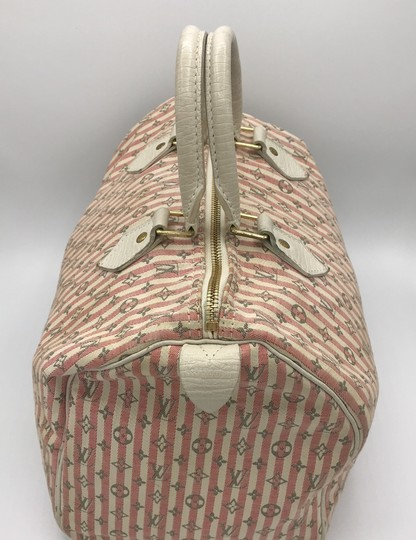 Louis Vuitton Satchel in Ivory Pink Striped Grey Rouge Image 2