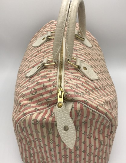 Louis Vuitton Satchel in Ivory Pink Striped Grey Rouge Image 3