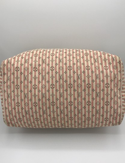 Louis Vuitton Satchel in Ivory Pink Striped Grey Rouge Image 4