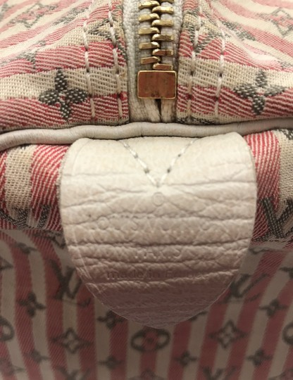 Louis Vuitton Satchel in Ivory Pink Striped Grey Rouge Image 8