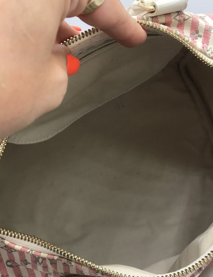Louis Vuitton Satchel in Ivory Pink Striped Grey Rouge Image 9