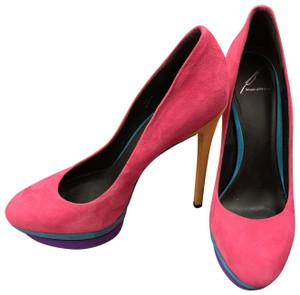 Brian Atwood Multicolor Suede Party Pink Pumps