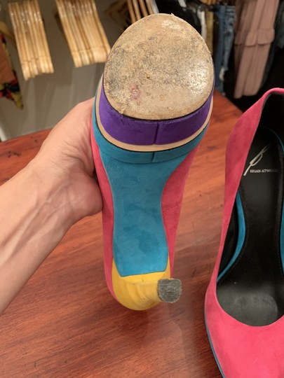 Brian Atwood Multicolor Suede Party Pink Pumps Image 3