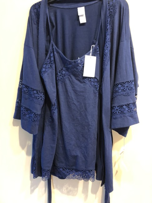 Nordstrom In Bloom by Jonquil 2 Pc Set Chemise Robe Cotton Lace Medium/ Lrg Image 3