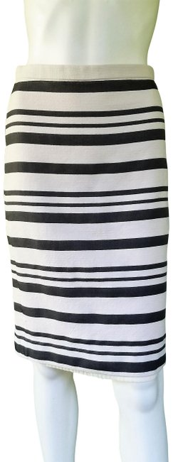 Item - Charcoal and Ivory Double Stripe Pencil Cotton Blend Skirt Size 00 (XXS, 24)