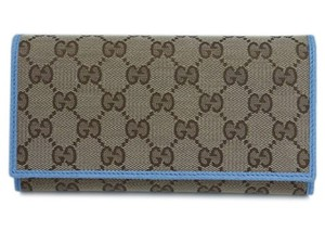 Gucci Gucci GG Canvas Beige Mineral Blue Calf Leather Continental Flap Walle