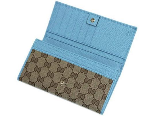 Gucci Gucci GG Canvas Beige Mineral Blue Calf Leather Continental Flap Walle Image 4