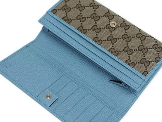 Gucci Gucci GG Canvas Beige Mineral Blue Calf Leather Continental Flap Walle Image 6