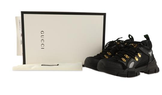 Gucci Leather Suede Canvas Rubber Gold Hardware Black Athletic Image 11