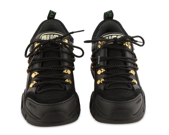 Gucci Leather Suede Canvas Rubber Gold Hardware Black Athletic Image 2