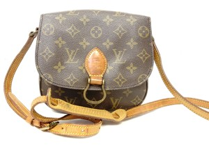 Louis Vuitton Monogram Handbag Vintage Leather Crisscross Strap Cross Body Bag