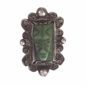 Mexico, 900 Mexican Carved Jade Mask Ring