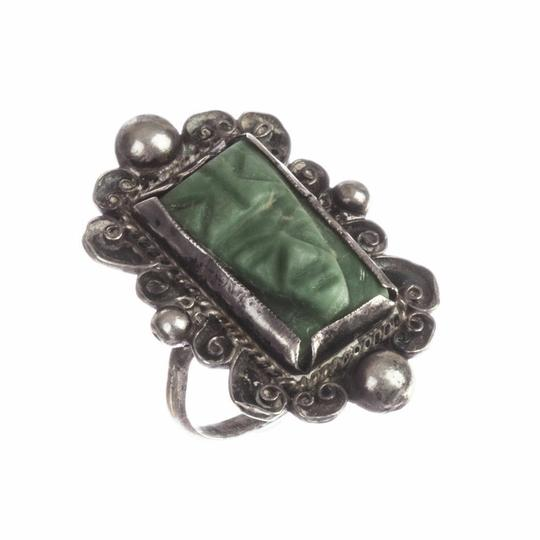 Mexico, 900 Mexican Carved Jade Mask Ring Image 1