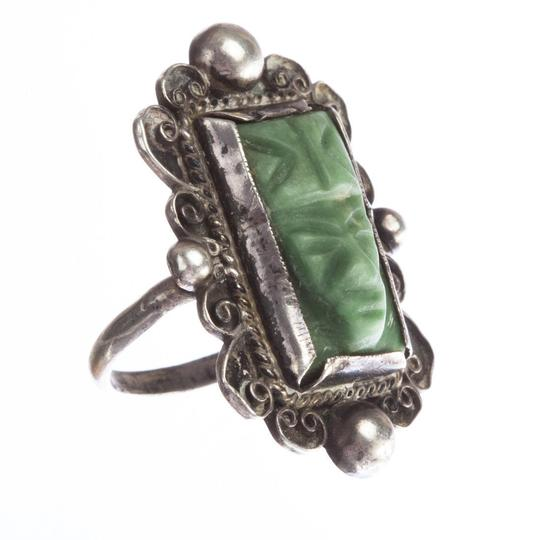 Mexico, 900 Mexican Carved Jade Mask Ring Image 4