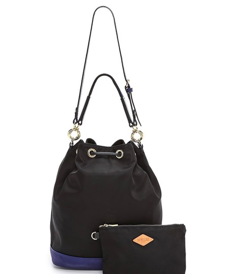 MZ Wallace Tote in black with purple/blue leather Image 7