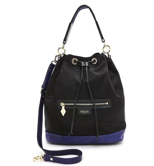 MZ Wallace Tote in black with purple/blue leather Image 8