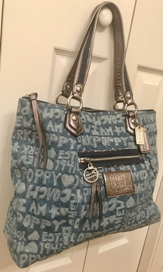 Coach Limited Edition Fabric Wordblock Rare Mint Condition Tote in Denim Blue Image 1
