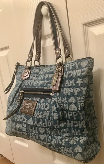 Coach Limited Edition Fabric Wordblock Rare Mint Condition Tote in Denim Blue Image 2