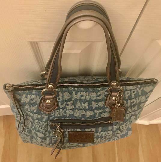 Coach Limited Edition Fabric Wordblock Rare Mint Condition Tote in Denim Blue Image 6