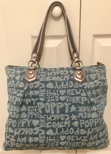 Coach Limited Edition Fabric Wordblock Rare Mint Condition Tote in Denim Blue Image 7