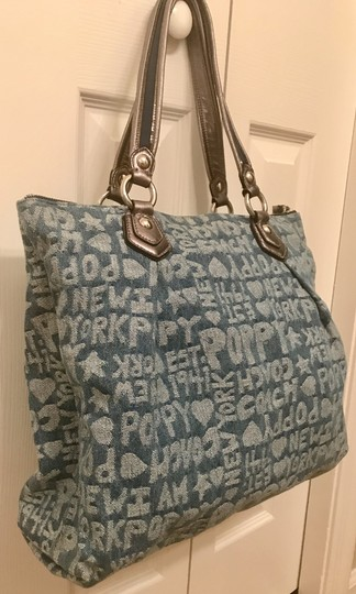 Coach Limited Edition Fabric Wordblock Rare Mint Condition Tote in Denim Blue Image 8