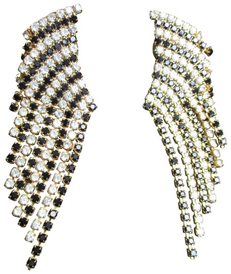 Preload https://img-static.tradesy.com/item/25915257/black-clear-and-gold-vintage-fringed-dangle-rhinestone-earrings-0-1-540-540.jpg