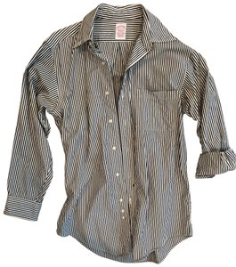 Brooks Brothers Pin Stiipped Button Down Shirt black and white