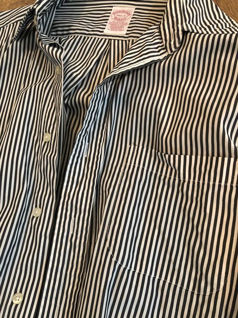 Brooks Brothers Pin Stiipped Button Down Shirt black and white Image 1