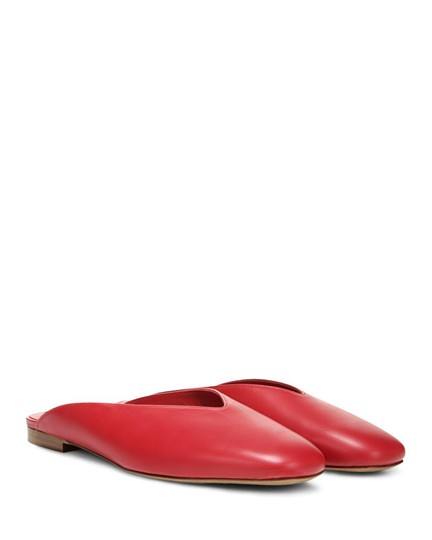 Vince Luxurious Red Leather Mules Image 0
