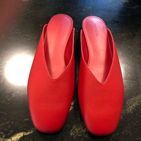 Vince Luxurious Red Leather Mules Image 9