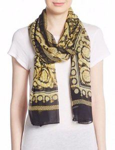 Versace Large Baroque-Print Long Silk Scarf Black Gold IST7R02 IT00863 I7900