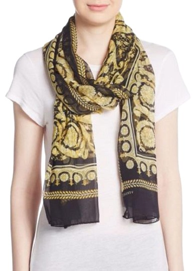 Versace Large Baroque-Print Long Silk Scarf Black Gold IST7R02 IT00863 I7900 Image 0