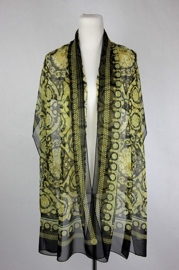 Versace Large Baroque-Print Long Silk Scarf Black Gold IST7R02 IT00863 I7900 Image 2