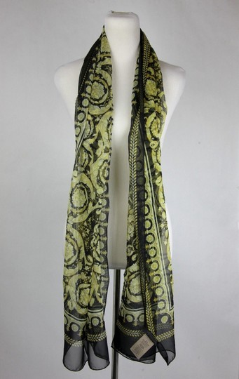 Versace Large Baroque-Print Long Silk Scarf Black Gold IST7R02 IT00863 I7900 Image 4