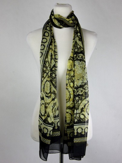 Versace Large Baroque-Print Long Silk Scarf Black Gold IST7R02 IT00863 I7900 Image 5