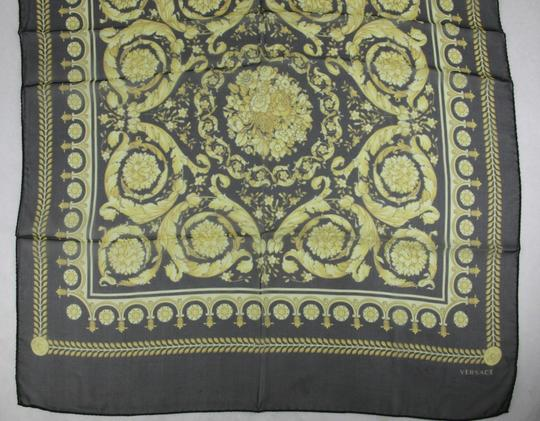Versace Large Baroque-Print Long Silk Scarf Black Gold IST7R02 IT00863 I7900 Image 8