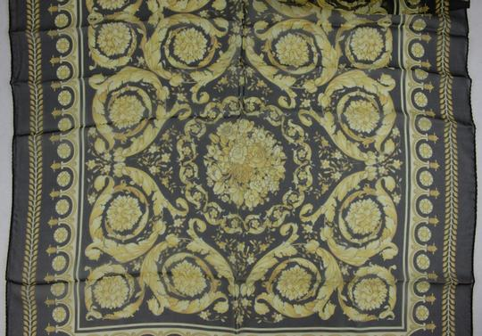 Versace Large Baroque-Print Long Silk Scarf Black Gold IST7R02 IT00863 I7900 Image 9
