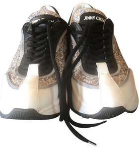 Jimmy Choo white and Silver Athletic
