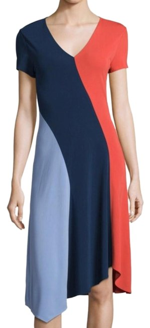 Item - Blue and Red Walden Color Block Mid-length Night Out Dress Size 6 (S)