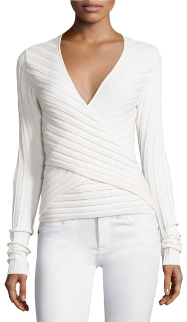 Preload https://img-static.tradesy.com/item/25915851/cinq-a-sept-titania-ribbed-wrap-front-cream-sweater-0-1-650-650.jpg