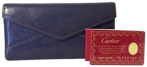 Cartier Blue leather classic envelope wallet with dustbag