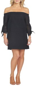 1.STATE Off The Shoulder Eyelit Cotton Partially Lined 3/4 Sleeve Dress