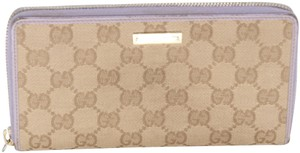 Gucci GG Canvas Twins Leather Trim Continental Zip Wallet