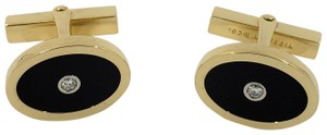 Tiffany & Co. TIFFANY & CO. DIAMOND ONYX OVAL 18K Y/G CUFF LINKS 14.3G 0.10CTW