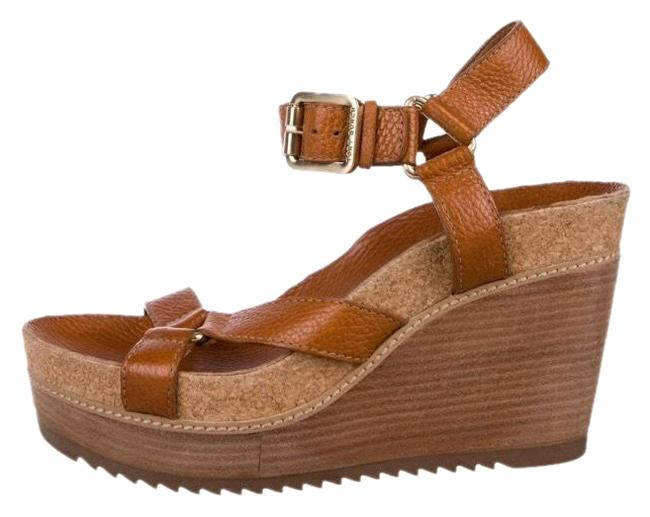 Item - Tan Leather Ankle Strap Wedges Size US 9 Regular (M, B)