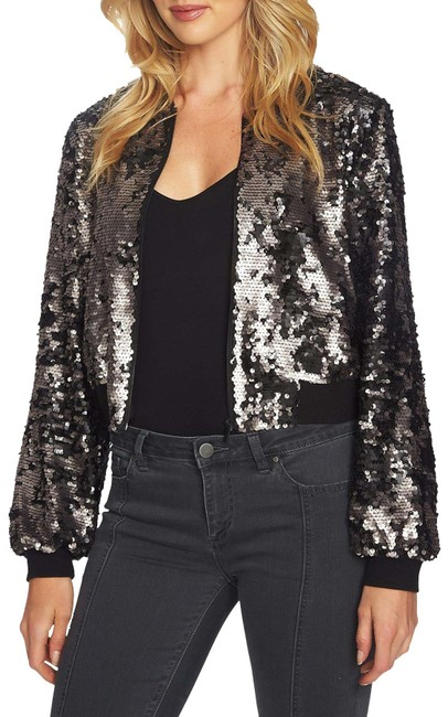 Item - Black and Silver Dramatic Pause Sequin Crop Bomber Jacket Size 4 (S)