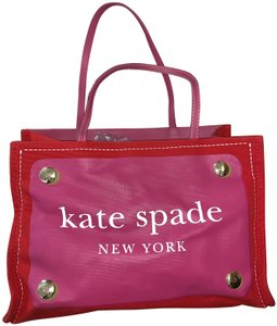 Kate Spade Canvas Gold Green Stitched Tote in Red & Pink