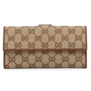 Gucci Gucci Canvas Leather GG Guccissima Snap Continental Wallet 231841