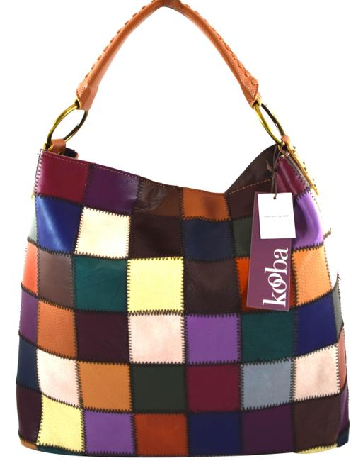 Item - Patchwork Red Blue Brown Purple Multi Leather Hobo Bag